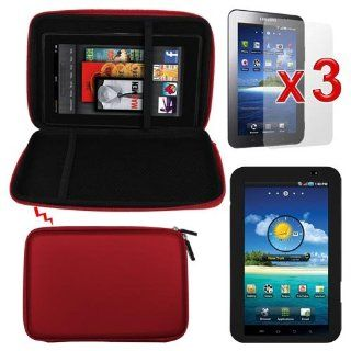 Premium 3 PACK of LCD Clear Screen Proecor + Red EVA Carrying Bag