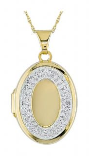 10k Yellow Gold Oval Crystal Locket Necklace