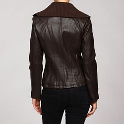 MICHAEL Michael Kors Womens Knit Collar Leather Jacket