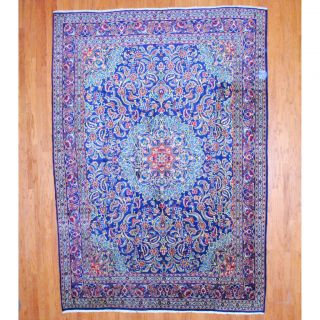 Persian Hand knotted Mashad Navy/ Red Wool Rug (95 x 133