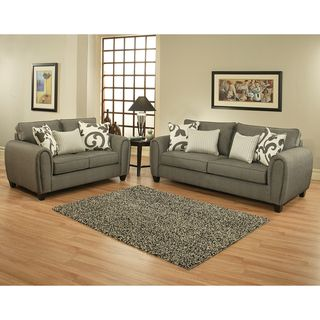 Enitial Lab Grey 2 piece Chenille Sofa and Loveseat