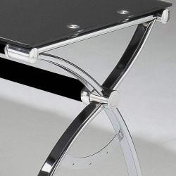 Smoked Tempered Glass L shaped Computer Desk