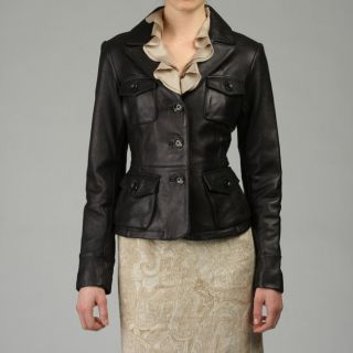 MICHAEL Michael Kors Womens Four Pocket Leather Blazer