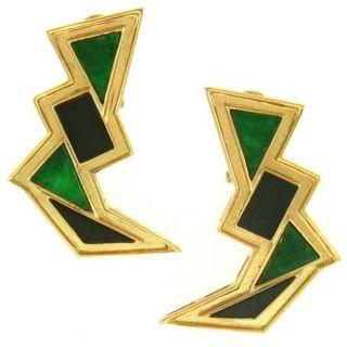 Mason Kay 14k Yellow Gold Jadeite Jade Lightning Bolt Earrings