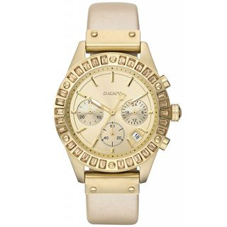 DKNY Womens Beige Calf Skin Gold Dial Quartz Watch