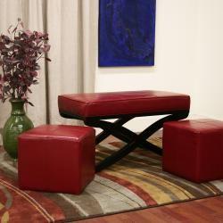 Dominique 3 piece Red Faux Leather Ottoman/ Bench Set