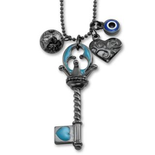 Dark Metal Multi Charm Light Blue Key Necklace
