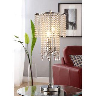 ETHAN HOME Crystal Rain 3 light Chrome Crystal Table Lamp
