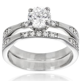 Tressa Collection Sterling Silver CZ Bridal style Ring Set
