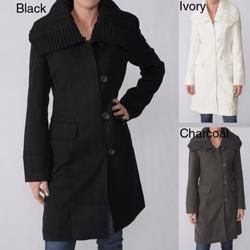 Ci Sono by Adi Juniors Knit Collar Wool Blend Coat