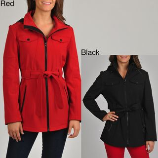 London Fog Womens Belted Soft Shell Active Jacket