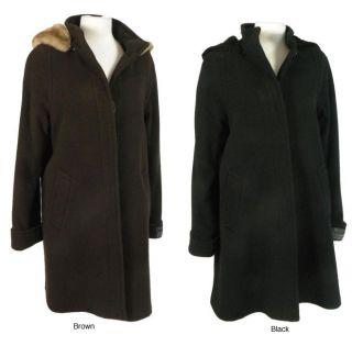 Nicole Womens Cashmere Blend Classic Hooded Coat