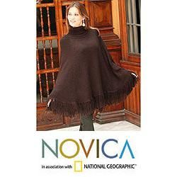 Alpaca Wool Dark Chocolate Poncho (Peru)