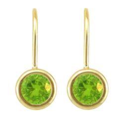 10k Gold August Birthstone Bezel set Peridot Leverback Earrings
