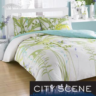 City Scene Mixed Floral 3 piece Comforter Set