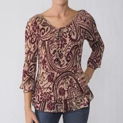 Signature by Larry Levine Womens Tiered Crinkle Blouse