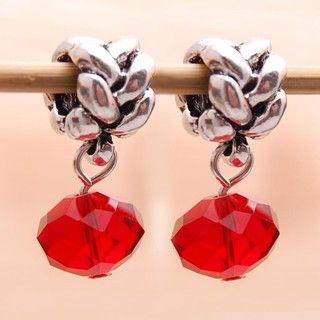 Bleek2Sheek Silverplated Red Crystal Dangle Charm Beads (Set of 2