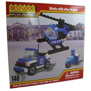 Best Lock 140 piece Police Copter, Car and Motorcycle Construction Set