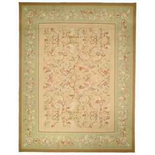 Asian Hand knotted Aubusson Beige Wool Rug (10 x 14)