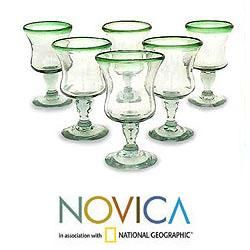 Set of 6 Blown Glass Caribbean Pina Colada Glasses (Mexico