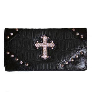 Black Rhinestone Cross Wallet