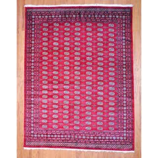 Pakistani Hand knotted Red/ Ivory Bokhara Wool Rug (9 x 12