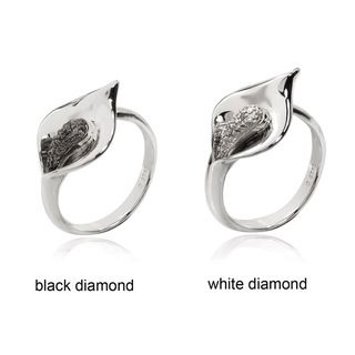 De Buman Sterling Silver Diamond Accent Cala Lily Flower Ring