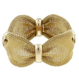 18k Yellow Gold Vintage Mesh Estate Bracelet