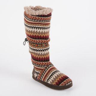 Muk Luks Womens Tina Desert Fairisle Toggle Slipper Boot