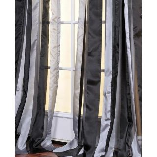 Black and Grey Striped 96 inch Sheer Curtain Panel