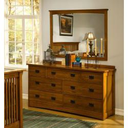 Mission Solid Oak 5 piece Queen Panel Bedroom Set w/ 7 Drawer Dresser