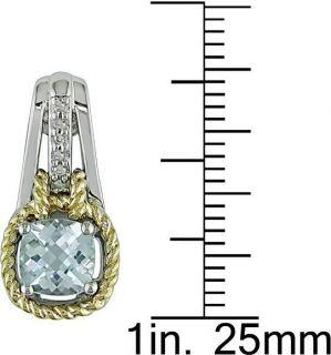 Sterling Silver/ 10k Yellow Gold Blue Topaz Earrings