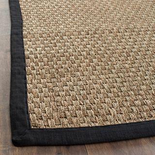 Hand woven Sisal Natural/ Black Seagrass Rug (6 x 9)