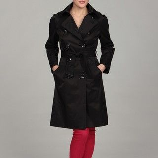 London Fog Womens Black Double Breasted Trench Coat