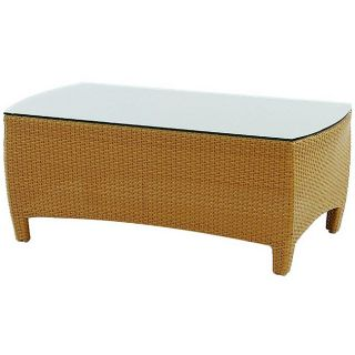 Cambridge Chestnut Glass Top Wicker Coffee Table