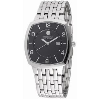Swiss Military Mens Rendezvous Stainless Steel Black Dial Watch