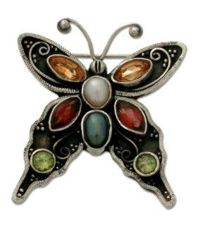 Pearl and garnet brooch, Butterfly Beauty Jewelry