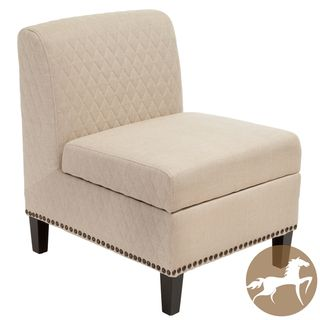 Christopher Knight Home Felice Beige Fabric Armless Storage Chair