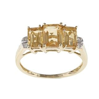 Miadora 10k Yellow Gold Emerald cut Citrine Diamond Ring