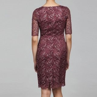 Tahari Womens Burgundy Lace Sheath Dress