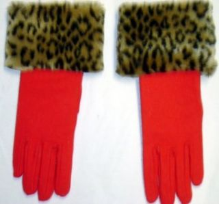 Red Wool Jersey Gloves Hand Trimmed with Fluffy Leopard