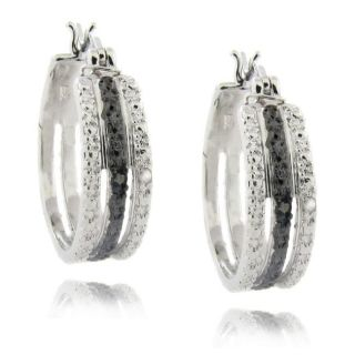Sterling Silver Black and White Diamond Accent Triple Hoop Earrings