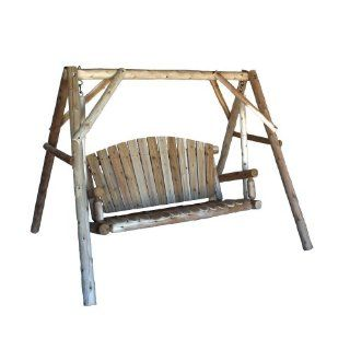 Build wood yard swing 2 bench glider w canopy diy plans for Log swing plans