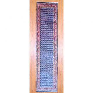 Persian Hand knotted Hamadan Navy/ Rust Wool Rug (35 x 147