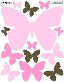 Butterfly Wall Decals Pink, Soft Pink, Brown, Removable