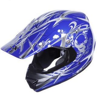GLX Adult Off road Full Face Blue Motorcycle Helmet