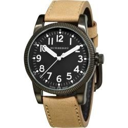 Burberry Womens Military Black Dial Beige Leather Strap Watch