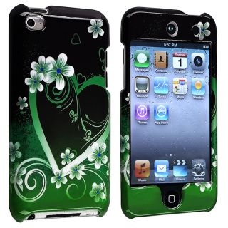 Green Heart Snap on Case for Apple iPod Touch Generation 4