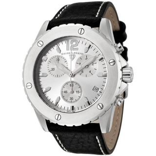 Swiss Legend Mens Windmill Black Leather Chronograph Watch