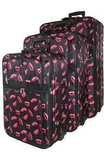 Kiss Lipstick Print 3 Piece Suitcase Rolling Luggage Set